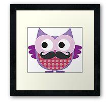 Purple Mustachioed Owl Framed Print