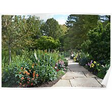 A Path Into a Colorful Flower Garden Poster
