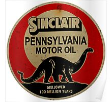 Sinclair Motor Oil vintage sign reproduction. Rusted version Poster