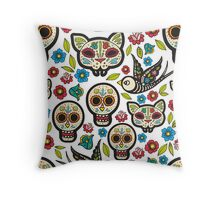 The seamless pattern of Day of the Dead Throw Pillow