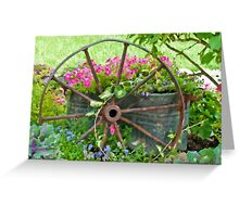 Vintage Wheel Garden Scene - Digital Oil  Greeting Card