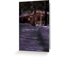 Cabin in the snowy woods during the holidays Greeting Card