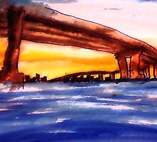Corando Bridge in San  Diego #2, watercolor by Anna  Lewis