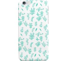 Trendy teal white hand drawn watercolor flowers iPhone Case/Skin