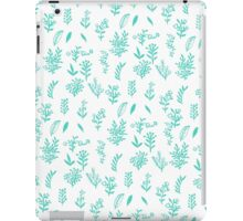 Trendy teal white hand drawn watercolor flowers iPad Case/Skin