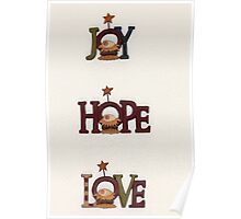 Joy Hope Love - Christmas card Poster