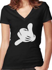 Funny Surf fingers - Shaka hand Women's Fitted V-Neck T-Shirt