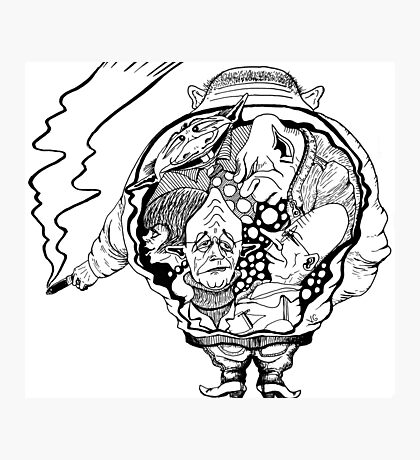 Leader surreal black and white pen ink drawing Photographic Print
