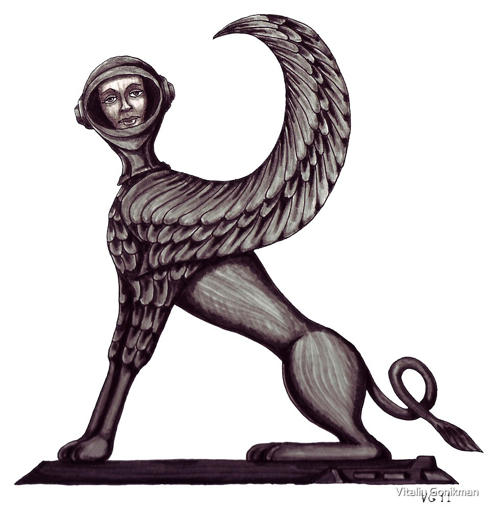 Ancient Astronaut Sphinx surreal black and white pen ink drawing by Vitaliy Gonikman
