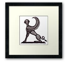 Ancient Astronaut Sphinx surreal black and white pen ink drawing Framed Print