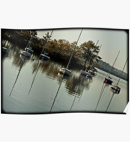 Slanted boats Poster