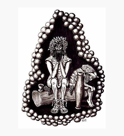Bacchus God of Wine black and white pen ink drawing Photographic Print