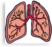 Funny cartoon lungs - Respiratory system Canvas Print