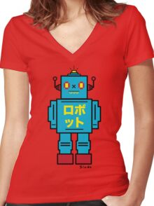 SCULL BOT Women's Fitted V-Neck T-Shirt