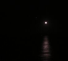 Full moon with Jupiter at the end of the night above the Banderas Bay by PtoVallartaMex