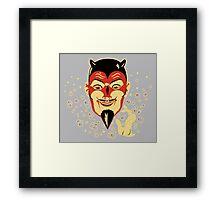 Vintage Halloween Devil Head Framed Print