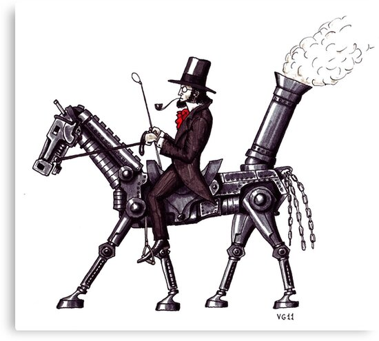 Steam Metal Horse surreal black and white pen ink drawing  by Vitaliy Gonikman