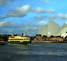 Boats near Sydney Opera House by Laurel Talabere