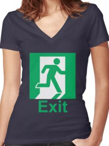 Exit sign Women's Fitted V-Neck T-Shirt