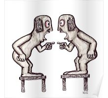 Argument surreal black and white pen ink drawing Poster