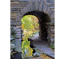 Stone bridge, Central Park in Autumn NYC Photographic Print