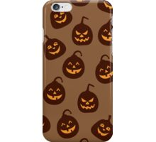 Funny and Scary Brown Halloween Pumpkins Pattern iPhone Case/Skin