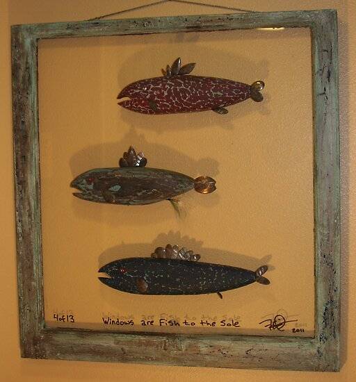 """Windows are fish tothe sole 4 of 13 30"""" x 32"""" (SOLD) by Fred Weiler"""