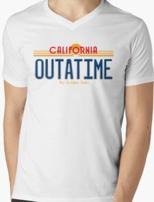 Back to the Future II Licence Plate Outatime Mens V-Neck T-Shirt