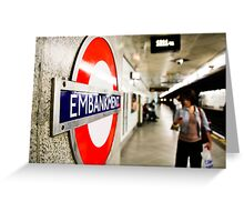 Wife riding the London Underground Greeting Card