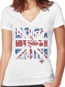 British @ Heart Women's Fitted V-Neck T-Shirt