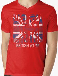 British @ Heart Mens V-Neck T-Shirt