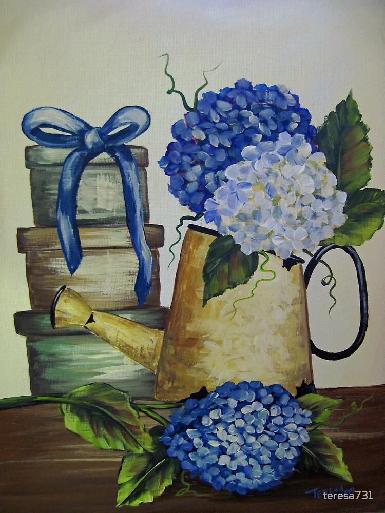 Blue Hydrangeas - Acrylic by teresa731