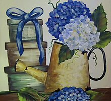 Blue Hydrangeas - Acrylic by teresa731