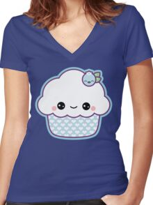 Cute Blueberry Cupcake Women's Fitted V-Neck T-Shirt