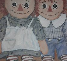 Raggedy Ann and Andy Drawing by tammisponseller