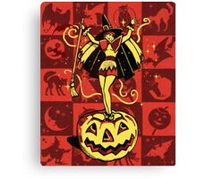 Halloween Witch Girl (vintage) Canvas Print
