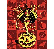 Halloween Witch Girl (vintage) Photographic Print