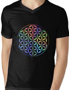 Flower of Life - Multi-Colour Mens V-Neck T-Shirt