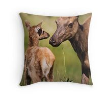 Elk cow and Calf Throw Pillow