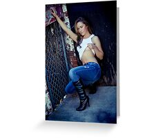 Tina in Blue Jeans-3 Greeting Card