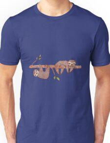 Baby Sloths hanging on Tree Pattern Unisex T-Shirt