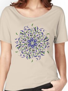 Green & Blue Flower Women's Relaxed Fit T-Shirt