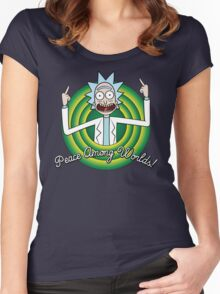 Peace among worlds, Folks! Women's Fitted Scoop T-Shirt