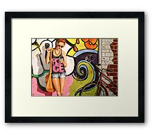 At the bus stop Framed Print