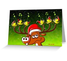 Birds' and Deer's Christmas Celebration Concert Greeting Card
