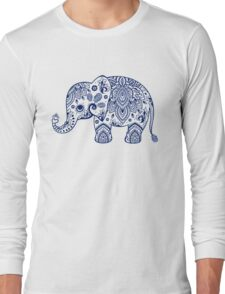 Blue Floral Elephant Illustration Long Sleeve T-Shirt
