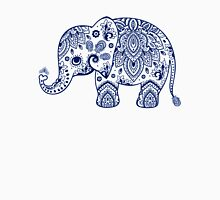 Blue Floral Elephant Illustration Unisex T-Shirt