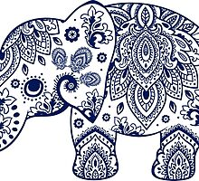 Blue Floral Elephant Illustration by artonwear