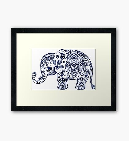 Blue Floral Elephant Illustration Framed Print