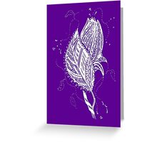 Rosebud Tangle White -  Transparent Background Greeting Card